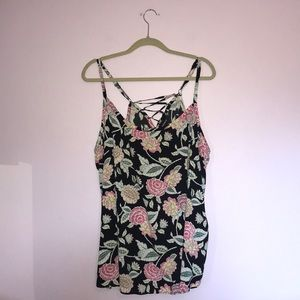 Torrid Black Floral Lace-Up Challis Swing Cami
